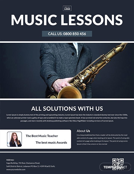 Free Music Learning Center Flyer Template
