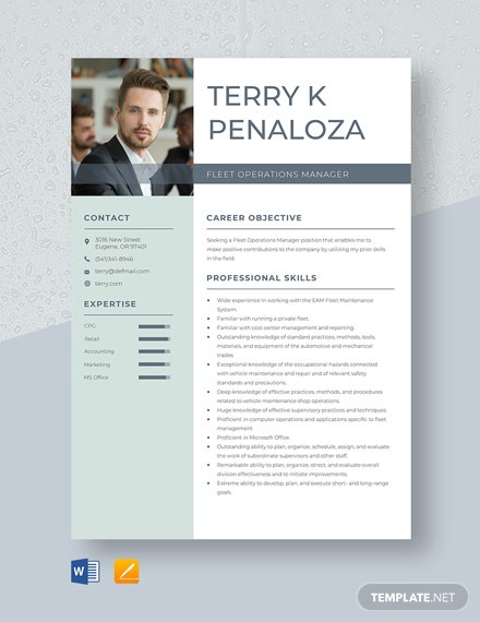 Fleet Operations Manager Resume Template