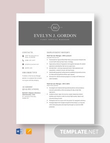 Fleet Service Manager Resume Template