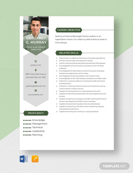 Food & Beverage Director Resume Template