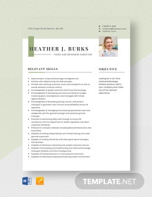 Food and Beverage Director Resume Template