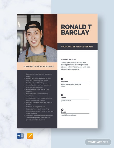 Food and Beverage Server Resume Template