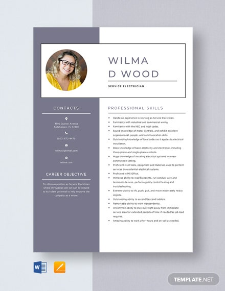 Service Electrician Resume Template