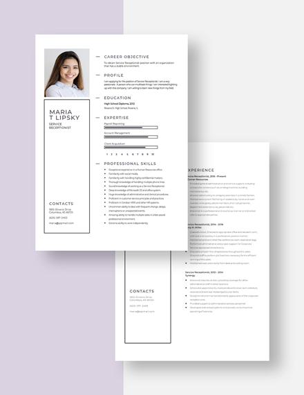 Service Receptionist Resume Download