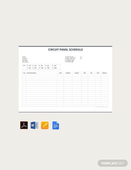 Free Circuit Panel Schedule Template