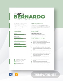 Service Station Attendant Resume Template