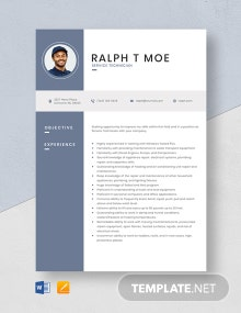 Service Technician Resume Template