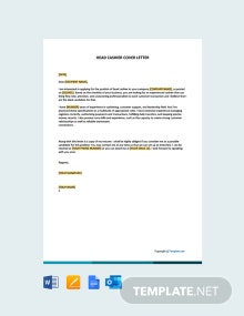 Free Head Cashier Cover Letter Template