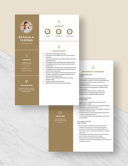 Floor Technician Resume Download