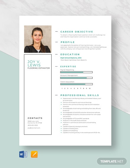 Flooring Estimator Resume Template
