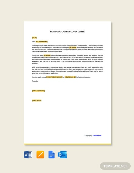 Fast Food Cashier Cover Letter Template