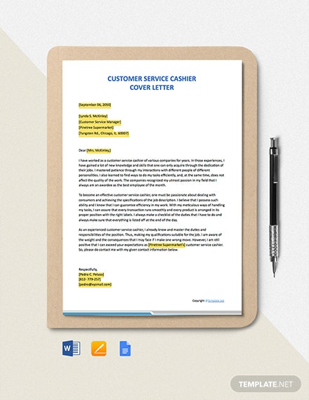Free Customer Service Cashier Cover Letter Template