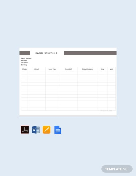 Free Sample Panel Schedule Template