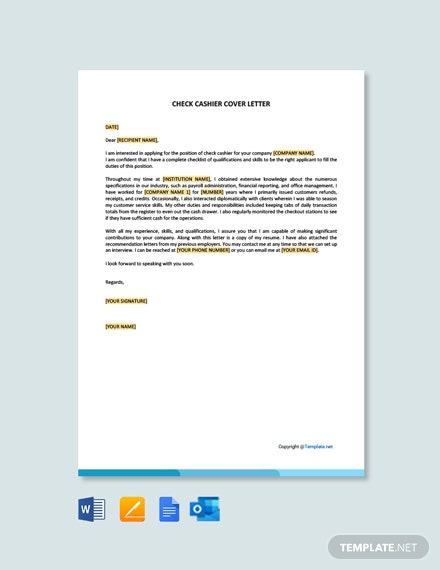 Free Check Cashier Cover Letter Template