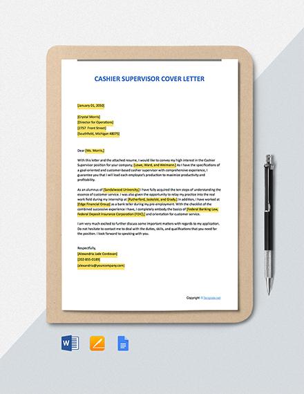 Free Cashier Supervisor Cover Letter Template