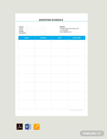 Free Blank Shooting Schedule Template
