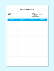 Blank Shooting Schedule Template