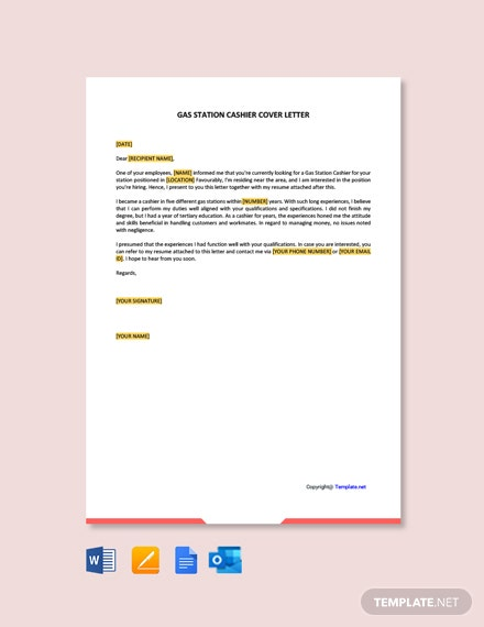 free gas station cashier cover letter