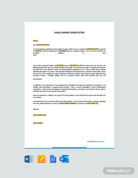 Free General Cashier Cover Letter Template