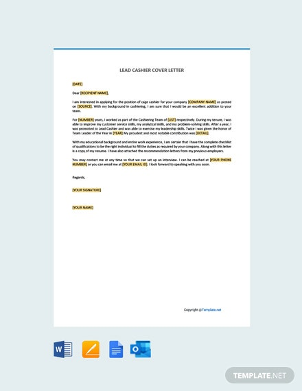 Lead Cashier Cover Letter Template