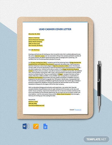 Free Lead Cashier Cover Letter Template