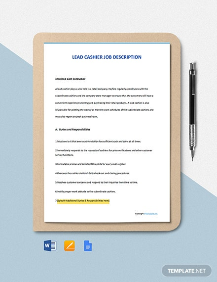 Free Lead Cashier Job Description Template