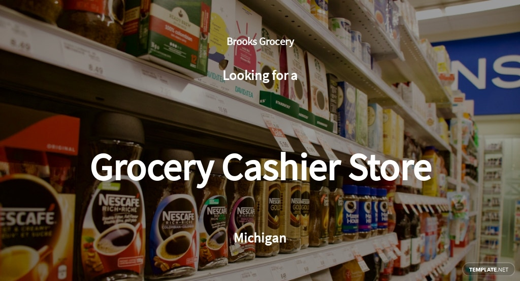 Grocery Cashier Store Job Ad and Description Template