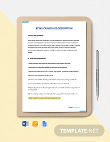 Free Retail Cashier Job Description Template