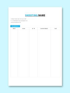 Film Shooting Schedule Template