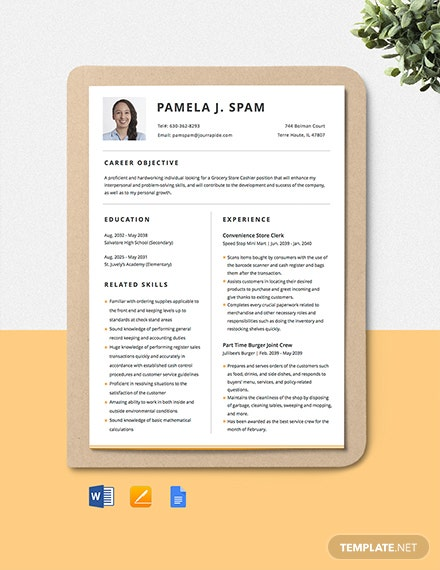 Grocery Store Cashier Resume Template