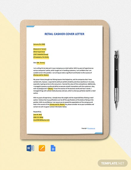 Free Retail Cashier Cover Letter Template