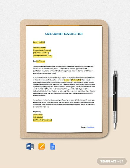Free Cafe Cashier Cover Letter Template