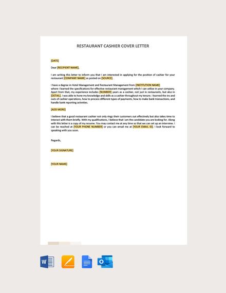 Free Restaurant Cashier Cover Letter Template