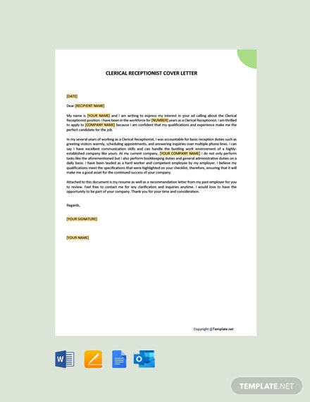 Free Clerical Receptionist Cover Letter Template
