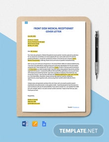 Free Front Desk Medical Receptionist Cover Letter Template