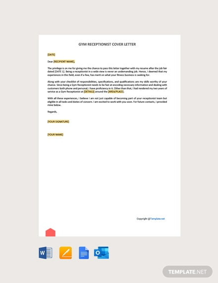 Free Gym Receptionist Cover Letter Template
