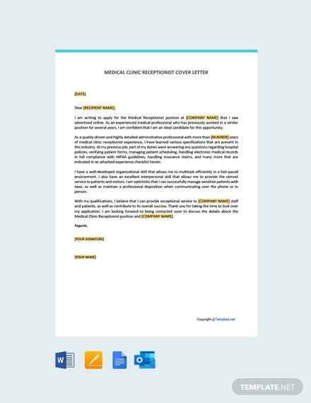 Free Medical Clinic Receptionist Cover Letter Template