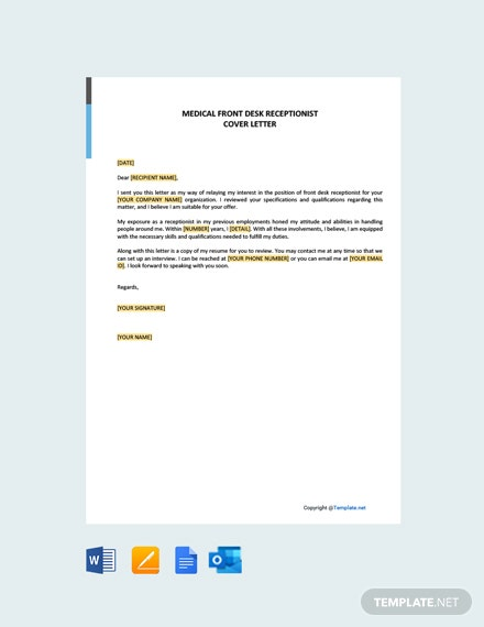 Free Medical Front Desk Receptionist Cover Letter Template