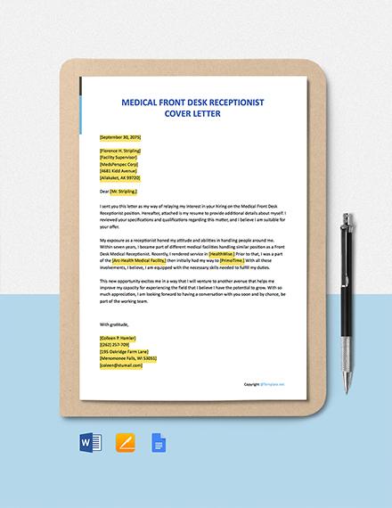 Free Medical Front Desk Receptionist Cover Letter Template