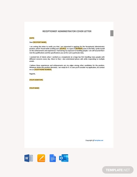 Free Receptionist Administrator Cover Letter Template
