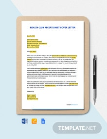 Free Health Club Receptionist Cover Letter Template