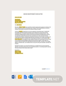 Free Service Receptionist Cover Letter Template
