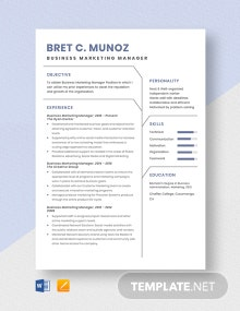 Business Marketing Manager Resume Template