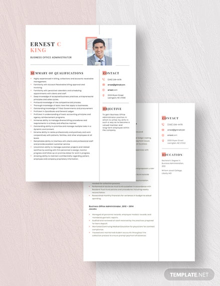 Business Office Administrator Resume Download