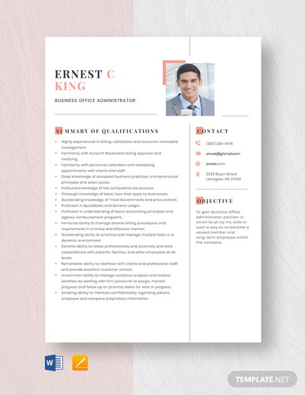 Business Office Administrator Resume Template