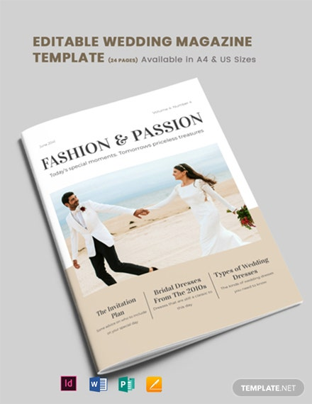 Editable Wedding Magazine Template