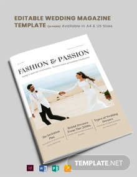Editable Wedding Magazine Template