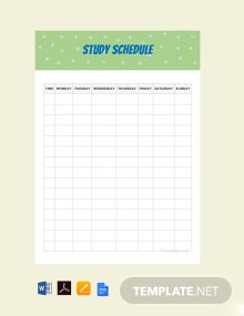 Free Sample Study Schedule Template