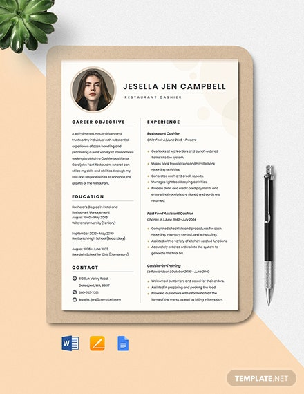 Restaurant Cashier Resume Template
