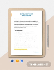 Free Clerical Receptionist Job Description Template